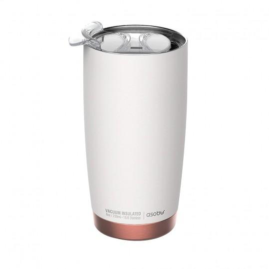 """ASOBU Двустенна термо чаша с вакуумна изолация """"GLADIATOR"""" - 600 мл - цвят бял/мед"""