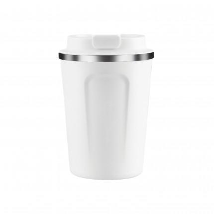 """ASOBU Двустенна термо чаша с вакуумна изолация """"CAFE COMPACT"""" - 380 мл - цвят бял"""