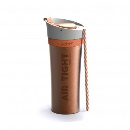 ASOBU Двустенна термо чаша FRESH N GO с вакуумна изолация и система AIR PUMP - 500 мл - цвят оранжев
