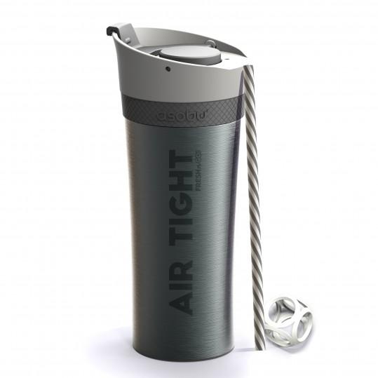 ASOBU Двустенна термо чаша FRESH N GO с вакуумна изолация и система AIR PUMP - 500 мл - цвят графит