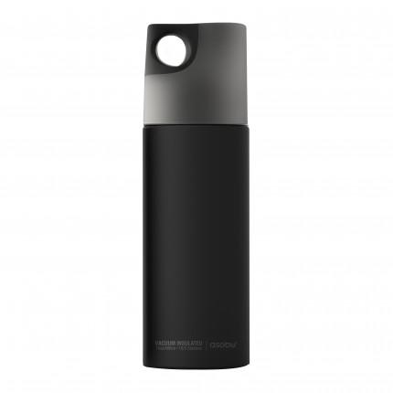 """ASOBU Двустенна спортна термо бутилка с вакуумна изолация """"LE CANAL"""" - 480 мл - цвят черен / графит"""