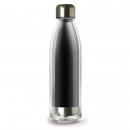 "ASOBU  Двустенна термо бутилка ""VIVA LA VIE"" - 525 мл - цвят черен"