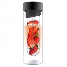 """ASOBU Стъклена бутилка с инфузер """"FLAVOUR IT"""" - 480 мл - цвят графит"""