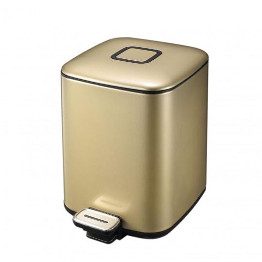 """EKO Кош за отпадъци с педал """"REGENT"""" - 6 л - цвят златно шампанско"""