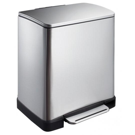 """EKO Кош за разделно събиране на отпадъци с педал """"E-CUBE"""" - (10 + 9) литра - мат"""