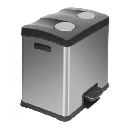 """EKO Кош за разделно събиране на отпадъци с педал """"REJOICE"""" - 2 х 12 литра - мат"""