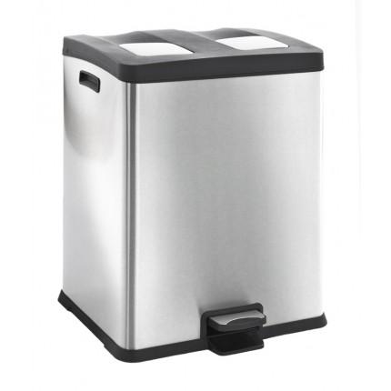 """EKO Кош за разделно събиране на отпадъци с педал """"REJOICE"""" - 2 х 30 литра - мат"""