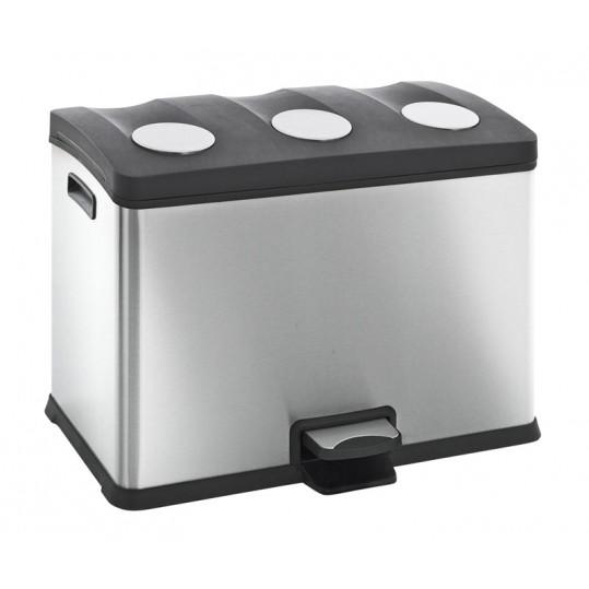 """EKO Кош за разделно събиране на отпадъци с педал """"REJOICE"""" - 3 х 12 литра - мат"""