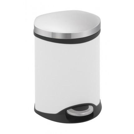 """EKO Кош за отпадъци с педал """"SHELL"""" - 6 литра - бял"""